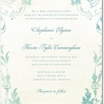 Signature White Textured Wedding Invitations Washed Denim Seafoam