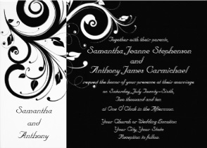 Black and White Reverse Swirl Wedding Invitations