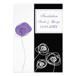 Blooming Purple Modern Wedding Invitation