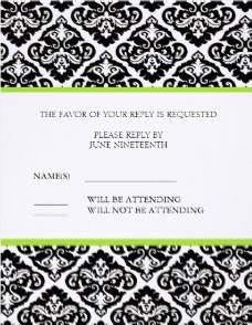 Damask Wedding Response Cards in Black and White
