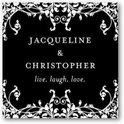 Personalized Gift Tag Stickers Elegant Eternity: Black