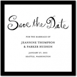 Signature White Save the Date Cards Stylish Script : Black Russian
