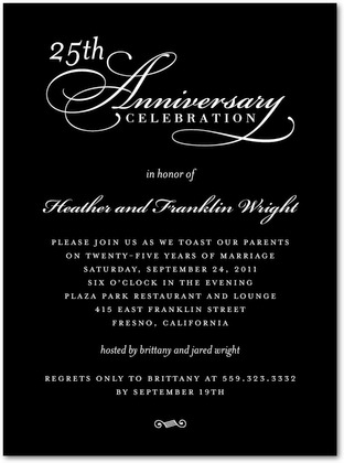 Signature White Anniversary Party Invitations Refined Toast : Black