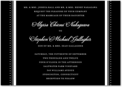 Signature White Wedding Invitations Tuxedo Chic : Black