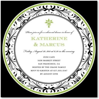 Signature White Rehearsal Dinner Invitations Intricate Platter : Meadow