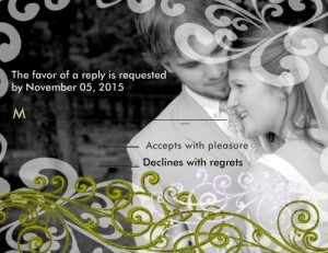 Swirly Your Photo Wedding Reponse Card Personalized Announcements