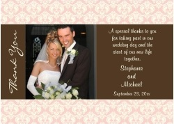 Peach and Brown Wedding Photo Thank You Personalized Announcements