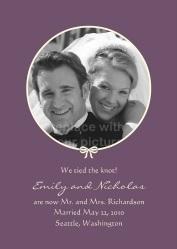 Simple Knot Photo Wedding Announcement - Purple
