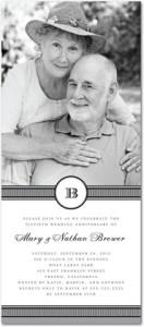 Signature White Photo Anniversary Party Invitation Initial Crest : White