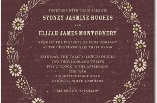 Signature White Wedding Invitations Rustic Circlet : Chambord