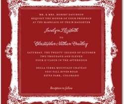 Signature White Wedding Invitations Refined Frame : Rich Red