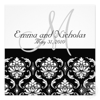 Wedding Invitation Monogram Damask