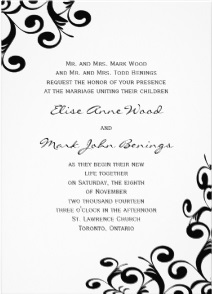 Black on White Wedding Invitation