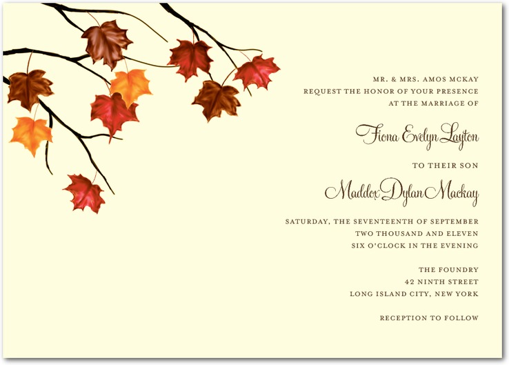 Brown Earth Tones Autumn Wedding Invitations