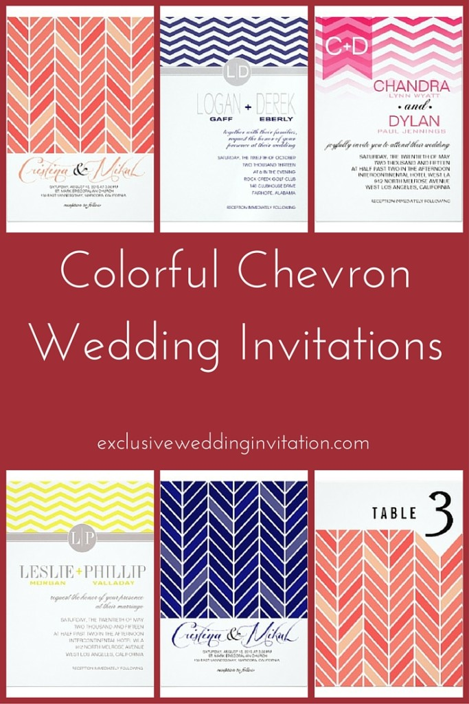 Colorful Chevron Wedding Invitations