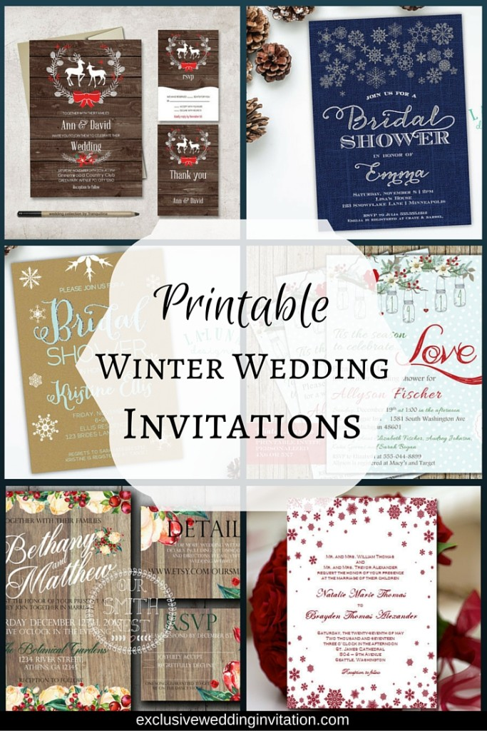 Handmade Printable Winter Bridal Shower & Wedding Invitations