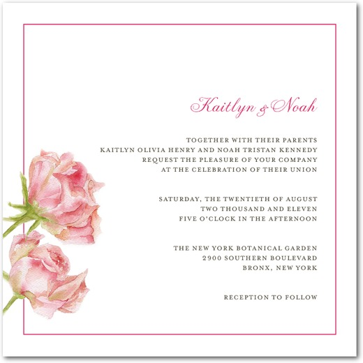 Lovely Rose Wedding Invitations