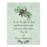 Mint Green Damask Wedding Invitations