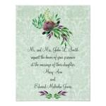 Mint Green Damask Wedding Invitations