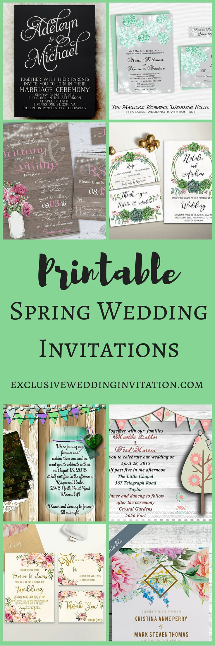 Printable Spring Wedding Invitations