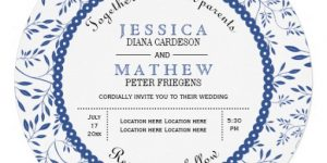 Indigo Leaves Wedding Invitations